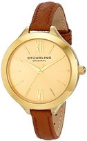Stuhrling Original Vogue 975 Women's Quartz Watch with Gold Dial Analogue Display and Beige Leather Strap 975.03