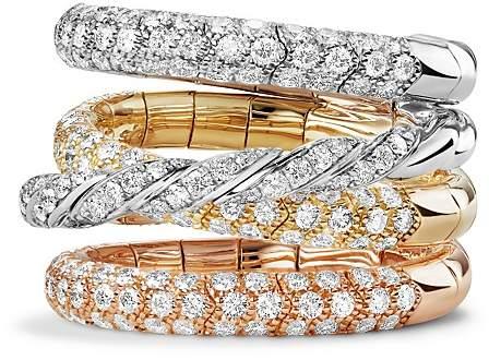 David Yurman Pavé Flex Four Row Ring with Diamonds in 18K Gold