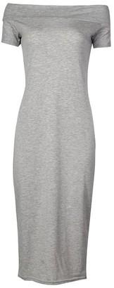 Girlswalk Girls Walk Women's Plus Size Off Shoulder Stretch Bodycon Midi Dress - Purple - 20 UK/22 UK/XX-Large