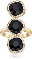 T Tahari Jet Crystal 3 Stone Ring, Size 7