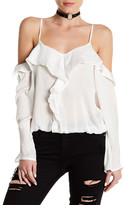 Lucca Couture Long Sleeve Cold Shoulder Ruffle Blouse