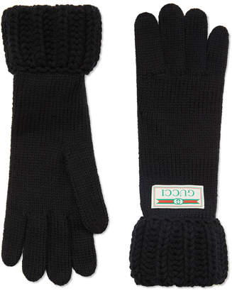 Gucci Knit Gloves w/ Logo Label
