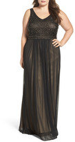 Xscape Evenings Beaded Mesh Gown (Plus Size)