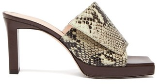 Wandler Isa Square Open-toe Platform Leather Mules - Brown Multi