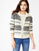 Gap Fair isle sweater bomber jacket