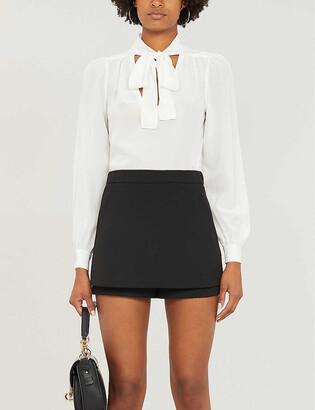 Maje High-rise crepe shorts