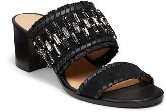 Jack Rogers Beatrix Jeweled Suede Block-Heel Slide Sandals