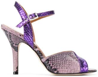 Paris Texas snakeskin effect sandals