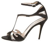 Monique Lhuillier Suede PVC-Trimmed Sandals