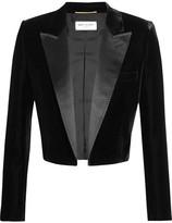 Saint Laurent Cropped Satin-trimmed Velvet Blazer - Black