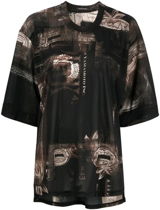 Y's graphic-print oversized T-shirt