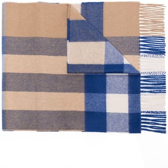 Burberry Fringed Mega Checked Cashmere Scarf