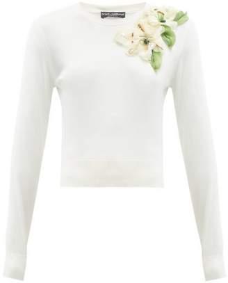 Dolce & Gabbana Lily-applique Silk Sweater - Womens - Cream