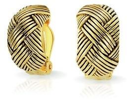 Bling Jewelry Woven Braided Basket Weave Hoop Clip On Earrings Ears Gold Plated