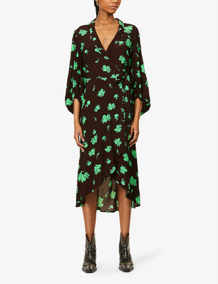 Ganni Floral-print woven midi wrap dress