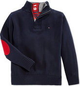 Tommy Hilfiger Little Boys' Quarter-Zip Sweater with Elbow Patches
