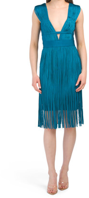 Cut Out Deep V Fringe Dress