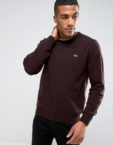 Lacoste Jumper In Lambswool With Croc Logo In Red