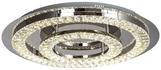 clear Design Living Double Crystal Ring LED Flush Mount, Stainless Steel Frame