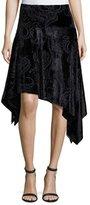 Fuzzi Paisley Velvet Asymmetric Handkerchief-Hem Skirt, Black