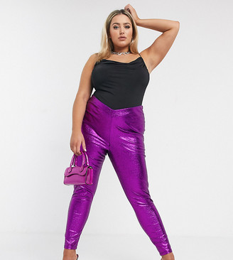 ASOS DESIGN Curve rivington high waist jeggings with V front in purple glitter