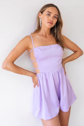 Nasty Gal Womens Moonlight Nights Satin Cut-Out Romper - Lilac