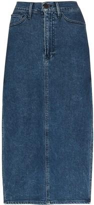 3x1 Cami side-split denim midi skirt