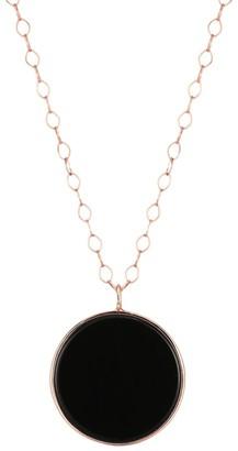 ginette_ny 18K Rose Gold & Onyx Jumbo Disc Pendant Necklace
