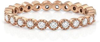Dominique Cohen 18k Rose Gold Diamond Milgrain Stacking Ring (Delicate), Size 7