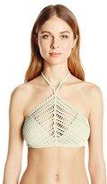 Robin Piccone Women's Sophia Crochet High-Neck Halter Bikini Top