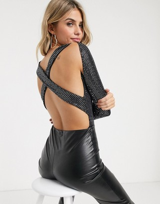 Outrageous Fortune cross back off shoulder body in silver