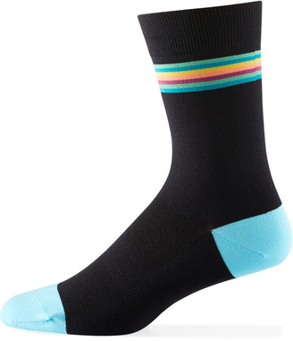 Paul Smith Men's Cycle Striped-Cuff Socks