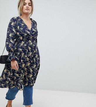 Lovedrobe Wrap Front Midaxi Tea Dress in Dark Floral Print
