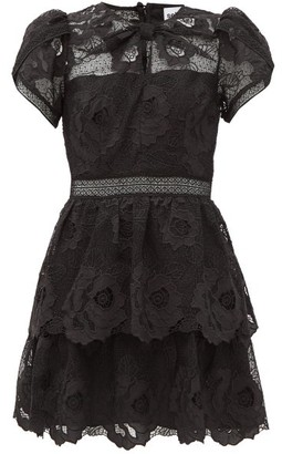 Self-Portrait Bow-neck Guipure-lace Mini Dress - Black