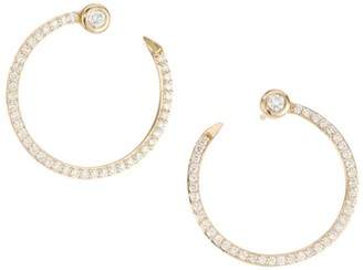 Sydney Evan 14K Yellow Gold & Pave Nail Hoop Earrings