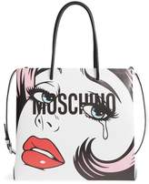 Moschino Graphic Print Leather Tote