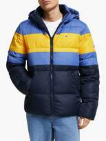Tommy Hilfiger Tommy Jeans Rugby Colour-Blocked Recycled Puffer Jacket, Dutch Blue/Multi