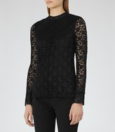 Reiss Alexa - Plisse Lace Top in Black, Womens