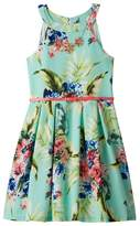 Knitworks Girls 7-16 Floral Textured Skater Dress with Necklace