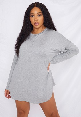 Missguided Plus Size Grey Button Through Night Shirt