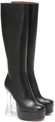 Amina Muaddi Farah leather knee-high boots