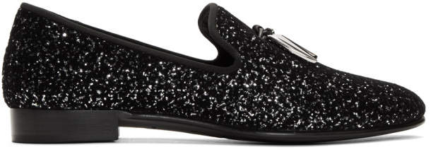 Giuseppe Zanotti Black and Silver Kevin Loafers