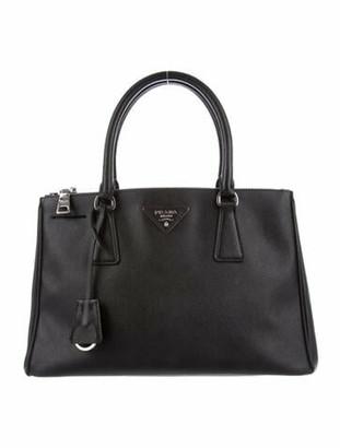 Prada Small Saffiano Lux Double Zip Galleria Tote Black