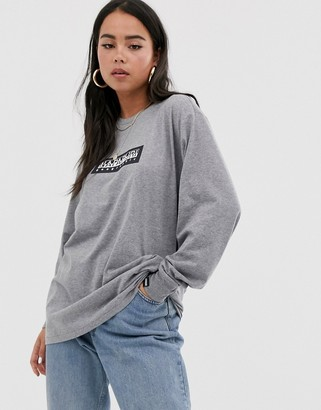 Napapijri Sox long sleeve top in gray
