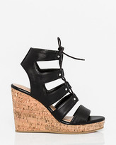 Le Château Leather-Like Ghillie Tie Wedge Sandal