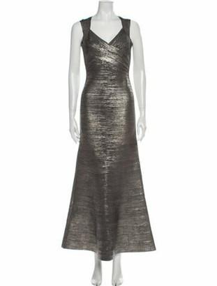 Herve Leger V-Neck Long Dress Grey