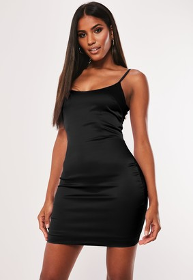 Missguided Petite Black Stretch Satin Bodycon Mini Dress