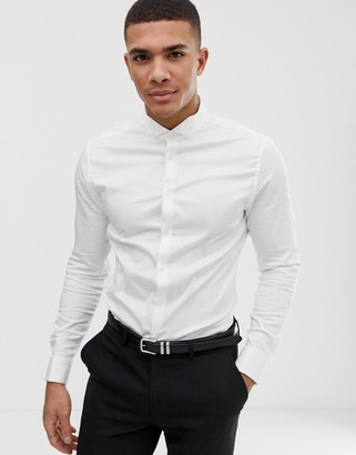 ASOS DESIGN skinny fit sateen wedding shirt with double cuff and wing collar