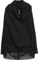 Rick Owens Pelican Draped Plissé Silk-blend And Buckram Cloth Sweater - Black
