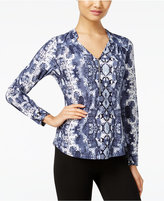 INC International Concepts Petite Front-Zip Printed Blouse, Only at Macy's